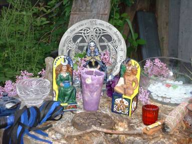 Beltaine altar close up